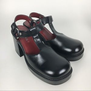 Vintage 90s Black Maryjane Chunky Block Heels 9.5